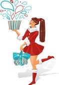 Dziewczyna trzyma prezent. ilustracja wektorowa. — Wektor stockowy