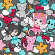 Seamless pattern with doodle. Vector kawaii illustration. - Stock vektor