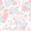 Seamless pattern with doodle. Vector kawaii illustration. - Векторная иллюстрация