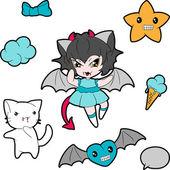 Colección de personajes graciosos y lindo kawaii feliz. — Vector de stock