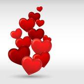 Stylový červený valentine den na zeleném pozadí. vektorové ilustrace. — Stock vektor