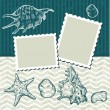 Vintage background with old postcards and seashells. - Stock Vector