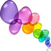 Résumé de la couleur avec des bulles transparentes et gouttes. — Vecteur