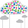 Social media clouds shape made with global communication icons. — Stock Vector #11919412