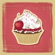 Vector illustration of cupcake with cherry. Vintage card. — Stock Vector #11919873