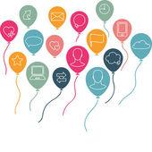 Sociální média, komunikace pozadí s létající balóny — Stock vektor