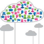 Social media clouds shape made with global communication icons. — Stock Vector