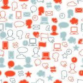 Social media network icon set seamless texture — Stock Vector