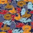 Royalty-Free Stock Immagine Vettoriale: Vector background of Halloween-related objects and creatures.
