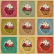 Seamless pattern made of cupcakes. Vintage background. - Stock Vector