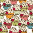 Stock Vector: Seamless pattern made of cupcakes. Vintage background.