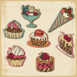 Vector illustration of cakes in retro style. Vintage design. — Imagen vectorial