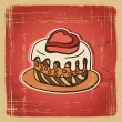 Vector illustration of cake in retro style. Vintage card. — Stock Vector