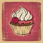 Vector illustration of cupcake with cherry. Vintage card. — Stock Vector