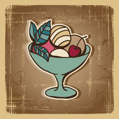 Vektorové ilustrace zmrzliny v retro stylu. ročník karta. — Stock vektor