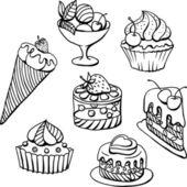 Vector conjunto de bolos em preto. mão ilustrações desenhadas. — Vetor de Stock