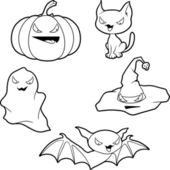 Vector collection of Halloween-related objects and creatures. — Stock Vector