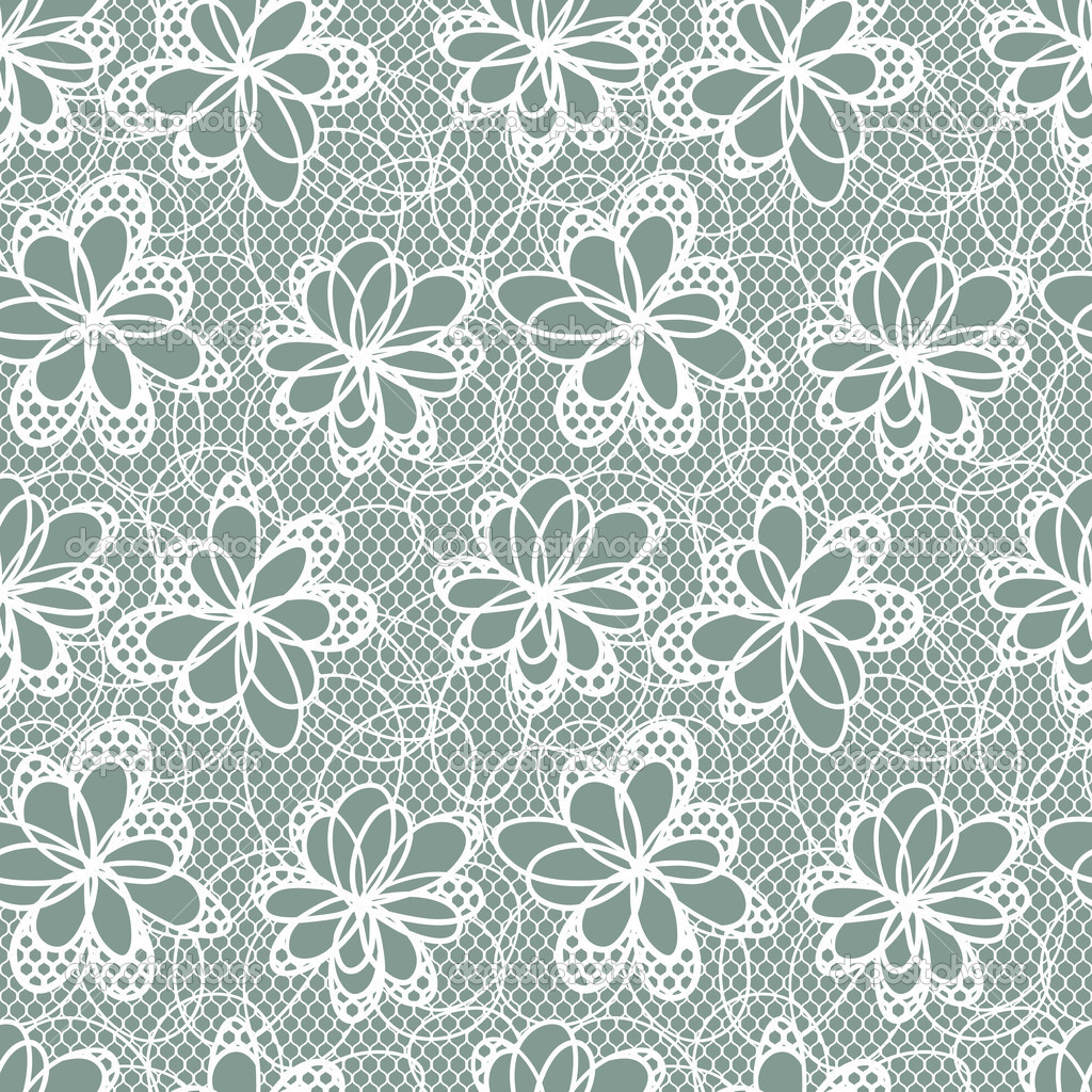 Old lace background, ornamental flowers. Vector texture. — Stock Vector #12023428