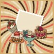 Stock Vector: Vector background with of cake in retro style. Vintage card.