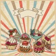 Vector background with of cake in retro style. Vintage card. — Stock Vector
