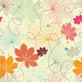 Seamless pattern with autumn leaves in a retro style. — Cтоковый вектор