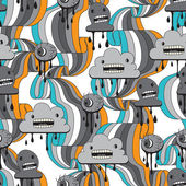 Monsters modern seamless pattern in retro style. — Stok Vektör