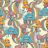Monster moderna sömlösa mönster i retrostil. — Stockvektor