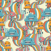 Monsters modern seamless pattern in retro style. — Vector de stock