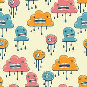 Monsters modern seamless pattern in retro style. — ストックベクタ