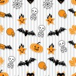 Royalty-Free Stock Imagen vectorial: Vector background of Halloween-related objects and creatures.