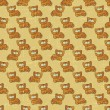 Vintage vector seamless pattern with cartoon cats. - Stock Vector