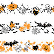 Vector border of Halloween-related objects and creatures. — Stock Vector