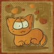 EPS 8 vintage background with vector cat. — Imagens vectoriais em stock