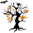 Set of cute vector Halloween icons in terrible tree. - Stock Vector