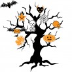 Set of cute vector Halloween icons in terrible tree. — Stock Vector