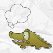 EPS 8 crumpled paper background with vector crocodile. — Imagens vectoriais em stock