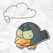 Eps 8 くしゃくしゃ紙の背景のベクトルの鳥. — ストックベクタ