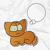 Fond de papier eps 8 froissé avec chat vecteur. — Vecteur