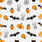 Vector background of Halloween-related objects and creatures. — Stock Vector