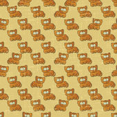 Vintage vector seamless pattern with cartoon cats. — Stock Vector