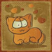 EPS 8 vintage background with vector cat. — Stock Vector