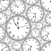 Seamless pattern with watches in gray. Stylish vector texture. — Vettoriale Stock
