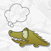 EPS 8 crumpled paper background with vector crocodile. — Vector de stock