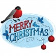 Bird on a tree in winter. Christmas greeting card. — Imagen vectorial