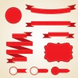 Stockvector : Set of curled red ribbons, vector illustration.