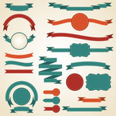 Set of retro ribbons and labels. Vector illustration. — Stockvektor