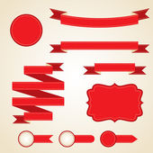 Set of curled red ribbons, vector illustration. — Stock Vector