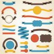 Set of retro ribbons and labels. Vector illustration. — Vector de stock  #12334821
