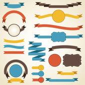 Set of retro ribbons and labels. Vector illustration. — Cтоковый вектор
