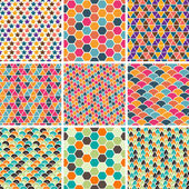 Set of seamless retro geometric pattern. EPS8 vector texture. — Stock Vector